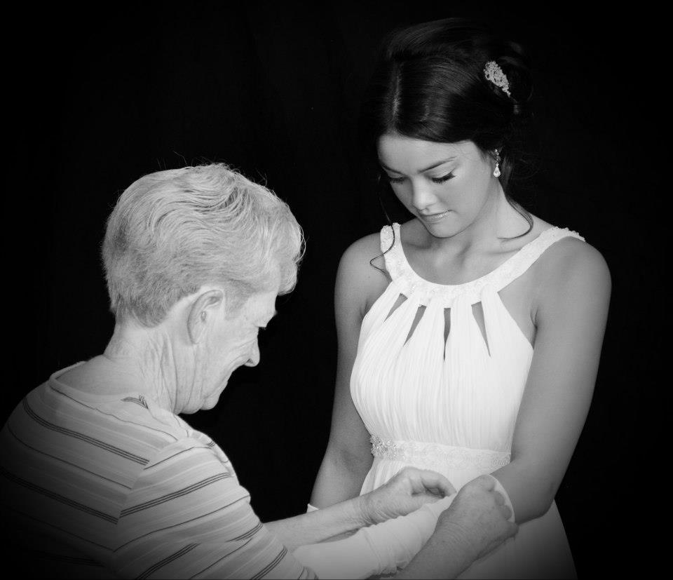 My mum and my niece/daughter preparing for debutante ball